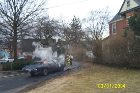 Car fire under control, Evergreen Street, West Grove, '04
