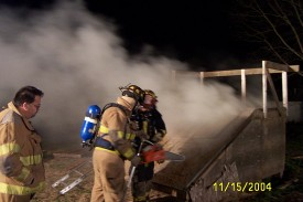 Ventilation training at Station 12, Firefighter Mike Predmore supervises
