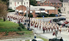 AGHS Band approaches the firehouse at the 1998 Parade