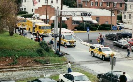 West Grove Fire Company units approach the reviewing stand at the 1998 parade