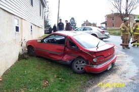 Car vs. building, MVA at Strickersville Rd & Route 896, London Britain Township