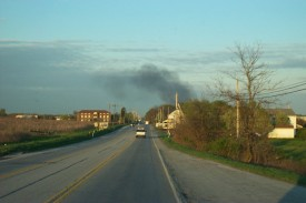Smoke in the distance, Coatesville apartment fire, fall 03