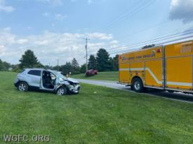WGFC firefighters used rescue tools to remove a passenger door on this SUV, involved in a two-vehicle crash on State Road in New London Township.