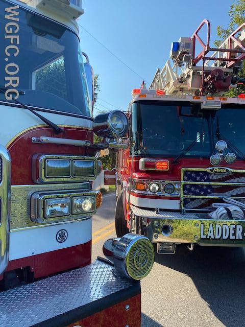 Ladder trucks from Oxford and Longwood assisted West Grove.