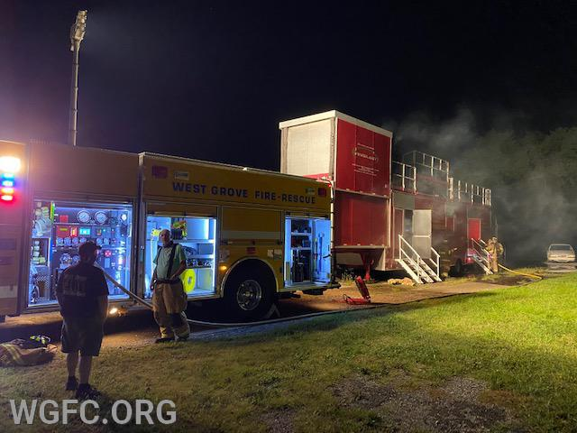 Rescue 22 sits alongside the fire simulation trailer at the WGFC New London station.