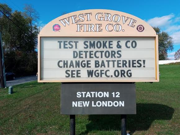 It is time to check those smoke detectors and change batteries says the West Grove Fire Company.