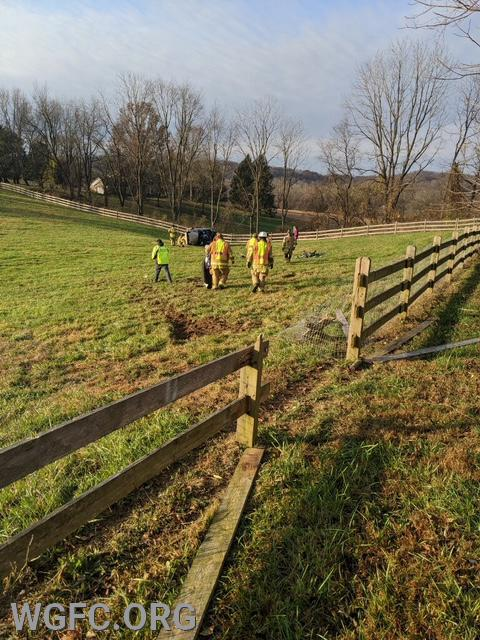 Crews had to carry rescue tools nearly 100 yards across the pasture.