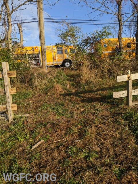 Looking back to the road to where Rescue 22 and the WGFC Ambulance are parked, it is easy to see where the car left the roadway and crashed through the fence.