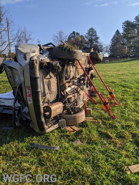 This vehicle crashed along Route 841 in Franklin Township, with the driver having to be extricated with rescue tools by the WGFC.