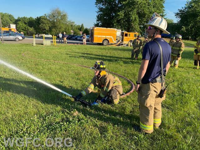 Training includes teaching junior members hose line skills.