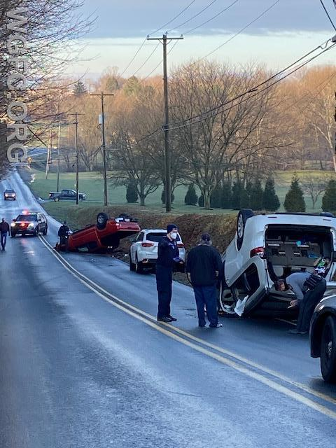 Two vehicles rolled over in icy conditions on Oxford Road in New London Township this morning, with the WGFC handling the call.