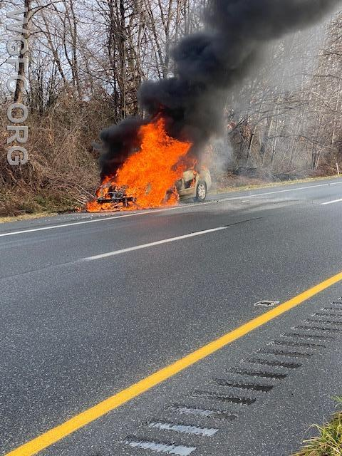 A car fire on the Route 1 Bypass was handled by crews from the West Grove and Oxford fire companies.