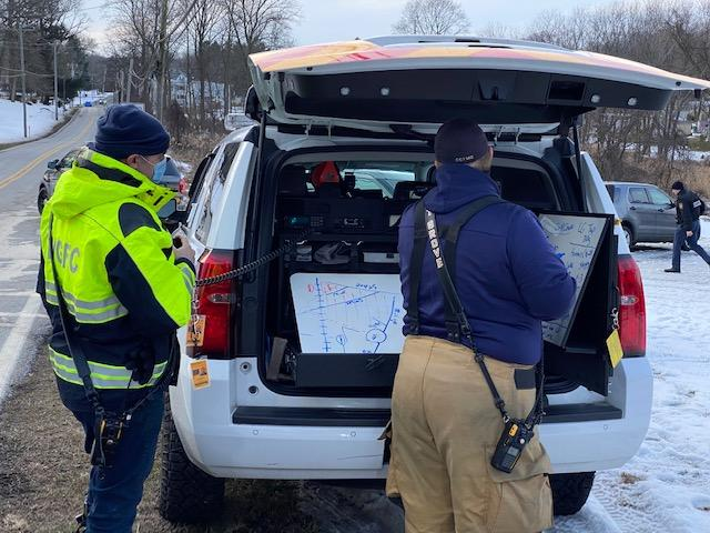 A massive community search for a missing London Grove Twp. man took place on Saturday.  Pictured here is the WGFC Operations Staging and Accountability Command Post.