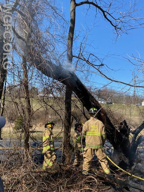WGFC firefighters work to extinguish a burning tree and brush along Good Hope Road in London Britain Twp. Saturday.