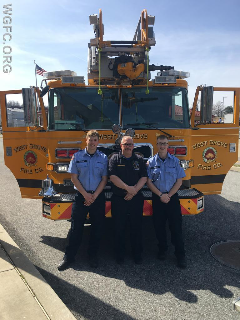 Soon to graduate from the Octorara Homeland Security & Protective Services Academy are WGFC volunteers Zach Felker and Tucker Aliberti (L to R), along with instructor Robert Linnenbaugh, in front of Ladder 22.
