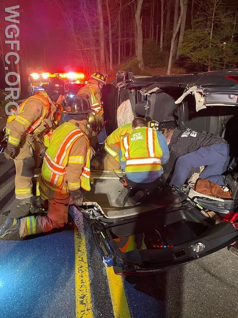 WGFC firefighters used rescue tools to remove a car crash victim along South Guernsey Road in Franklin Township early Saturday morning.