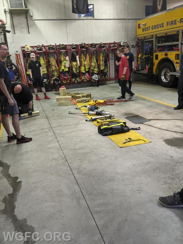 New members get an overview of various rescue tools used at auto accidents.