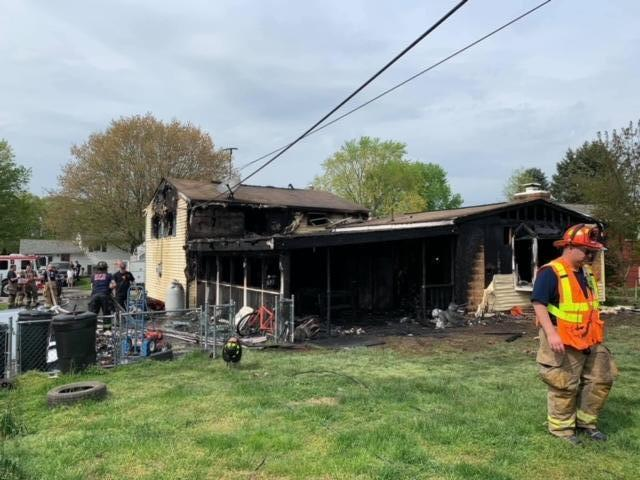 This view of the rear of the home in Elkton shows the significant fire from this arson fire.