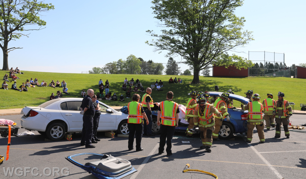 WGFC responders perform a rescue at a two-car mock crash to reinforce driver safety messages for Avon Grove High School Students.