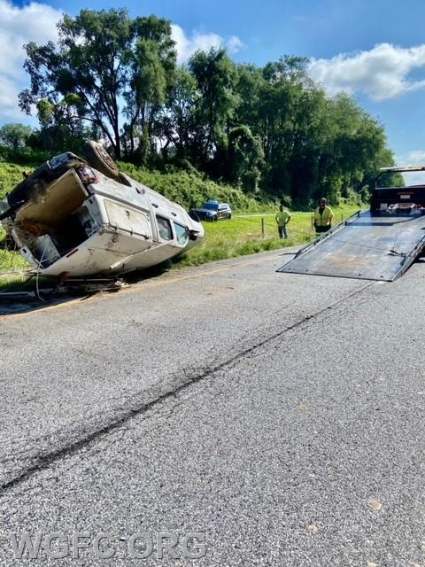 This truck overturned in the crash.