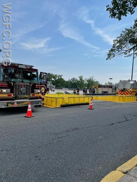 Springfield's engine drafts from portable water tanks supplied by WGFC's Tanker 22 during a rural water supply demonstration at the Springfield Mall.