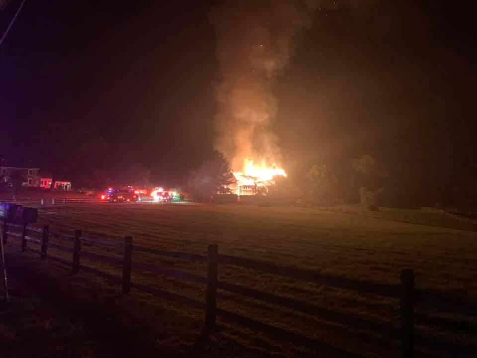 The large barn was fully involved as units arrived.