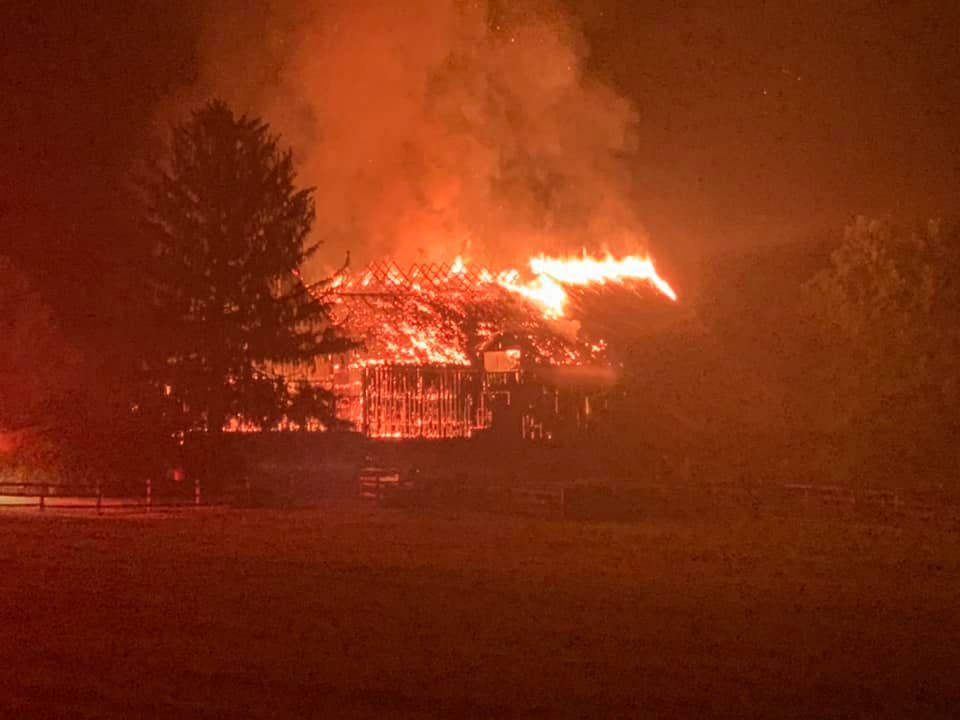 This large barn was destroyed in an early morning fire Monday in Kennett Township.