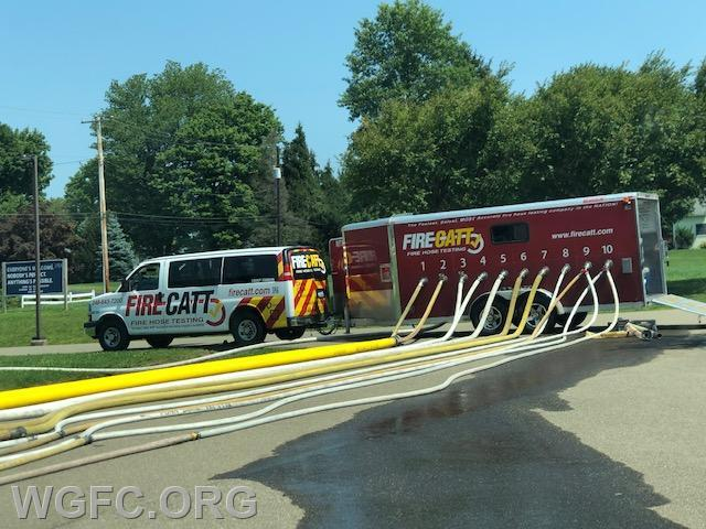 Annual hose testing was held this past week -- nearly three miles of hose was tested over two days of hard, hot work.