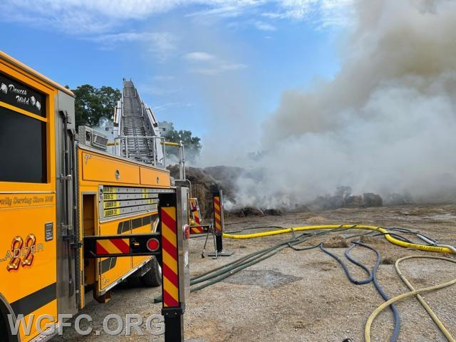 A large haybale fire on Friday was the scene of a 6.5 hour firefighting effort in New Garden Township.  Ladder 22 is on scene.