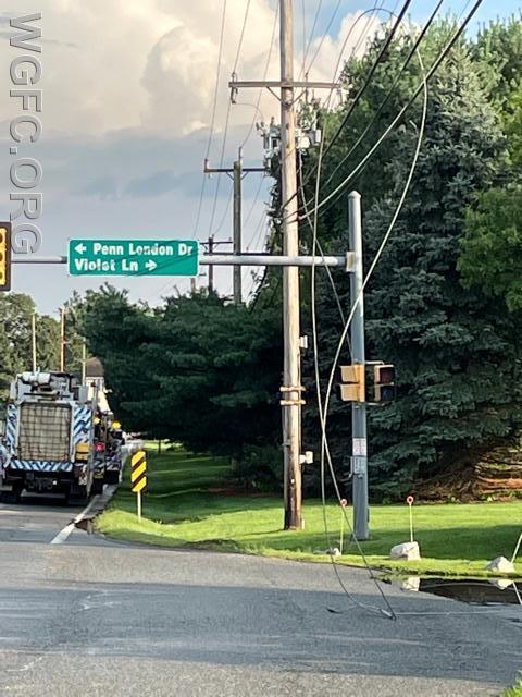 Downed PECO wires from a lightning strike created traffic and safety issues in New London Township near the AG Intermediate School.