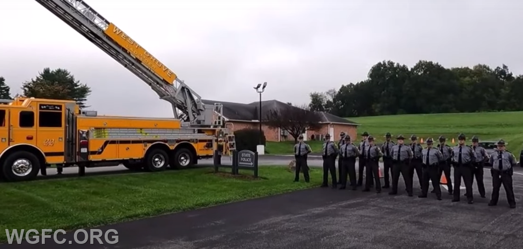 PA State Police Troopers at the ceremony with Ladder 22.