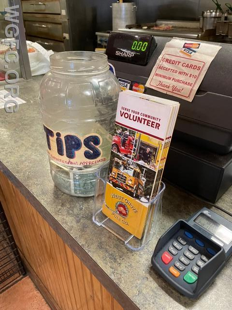 WGFC recruitment brochures are now available at local businesses, like shown here at 896 Pie in Kemblesville.