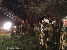 Crews from four neighboring companies were available if needed.