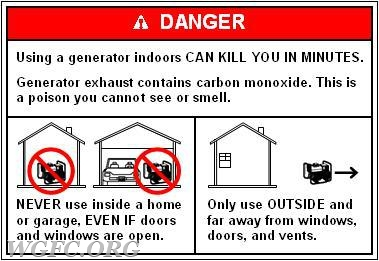 Never use a generator indoors.