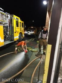 1100 feet of dirty hose had to be washed after the four hour fire fight.