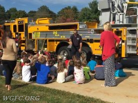 West Grove Volunteer Fire Company Lieutenant Rob Kloss doing a fire prevention program at a local school