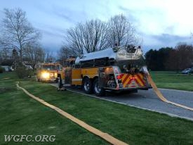 Tanker 22 provided the first tanker load to the fire scene pumper, Engine 22-3