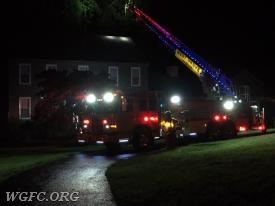 Ladder 22 is positioned at a residence on Timber Jump Lane in Franklin Township, investigating a possible lightning strike.