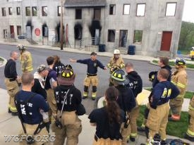 Crews review procedures and safety issues prior to the live fire exercises.