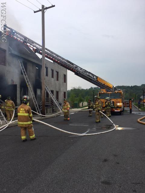 Ladder 22 and crews are deployed as a house fire is handled by WGFC crews in training.
