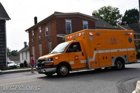 Ambulance 22 in front of the WGFC station in West Grove