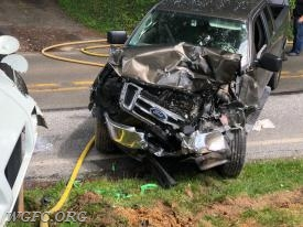 The second vehicle sustained major damage, but the driver was not treated.