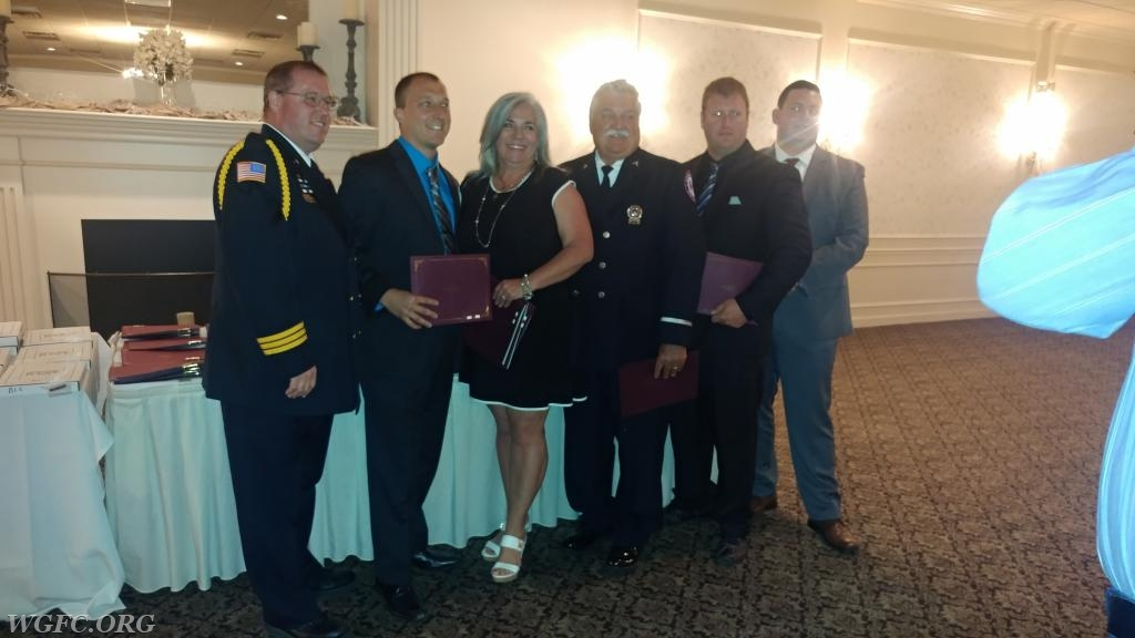 FF/EMT Vattilana, EMT Brown, and Sgt Cazillo receiving their clinical save commendation