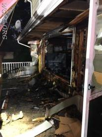 A fire on the porch spread to the wall in this home fire.
