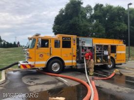 Engine 22-2 also drafted to support the fire scene, and also supplied three jet-units to drive tank to tank flow.