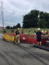 Early in the drill, crews are about to set up tank number three.