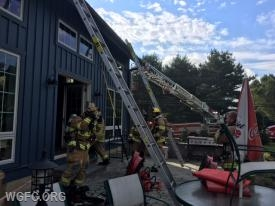 Ground ladders and Ladder 21 had the front and side of the house.