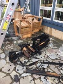 This is what is left of a player piano that was burning when crews entered the residence.