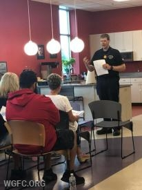 WGFC Sergeant Loren Nafziger gives a class on fire safety at Dansko in Penn Township as part of the fire company's commitment to community education.