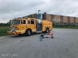 WGFC Engine 22-1 is shown at the Dansko Distribution Center in Penn Township for fire safety education.